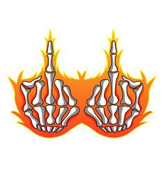 Skeleton middle finger mascot logo vector