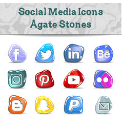 Social media icons - agate stones vector
