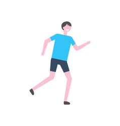 sportsman in blue t-shirt black trousers vector image
