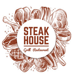 steak house grill restaurant menu banner with hand vector image