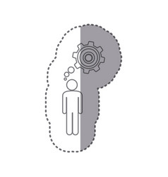 Sticker silhouette of man thought in a pinion vector