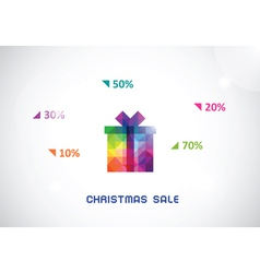 stylized colorful box from triangles for Christmas vector image