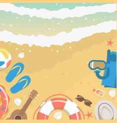 summer elements on sand and water banner vector image