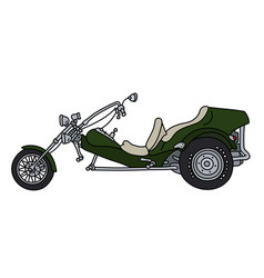 The green motor tricycle vector