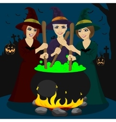 three halloween young witches making potion vector image