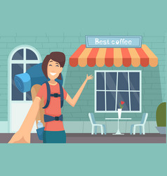 travel blogger girl making digital content caffe vector image