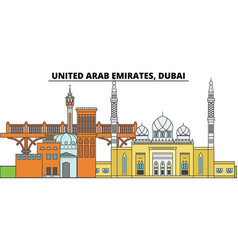 United arab emirates dubai city skyline vector