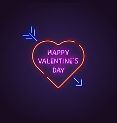 valentines day neon banner vector image