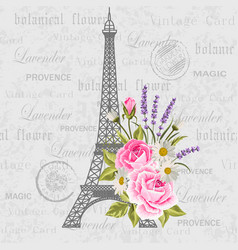 vintage postcard with eiffel tower and flowers vector image