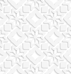 White snowflakes and white squares seamless vector