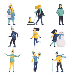 winter time set people dressed in outerwear vector image
