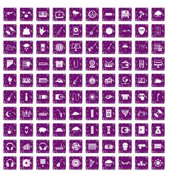 100 music festival icons set grunge purple vector image vector image