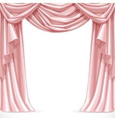 Big pink curtain draped with lambrequins isolated vector image vector image