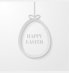 easter greeting card with hanging paper egg vector image