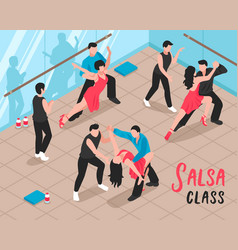 Salsa class people isometric vector