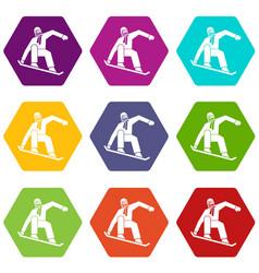 snowboarder icon set color hexahedron vector image vector image