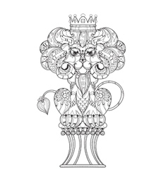 Hand drawn doodle outline lion vector image vector image
