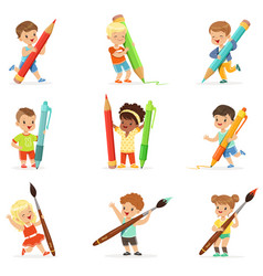 Smiling young boys and girls holding big pencils vector