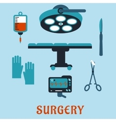 Surgery flat icons with operating room vector image