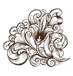 doodle vintage pattern of plant leaves and flower vector image