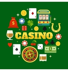 Elements Of Casino Flat Icons Set vector image vector image