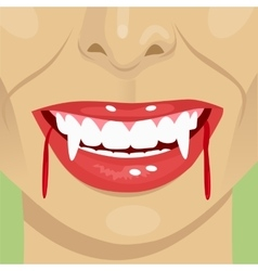 female vampire bloody mouth showing fangs vector image vector image
