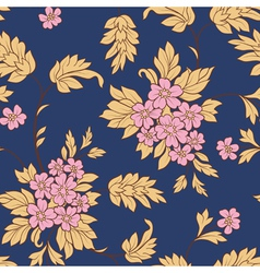 pink flower and yellow leafs on dark blue backgrou vector image