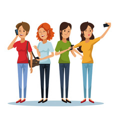 white background with set women social network vector image