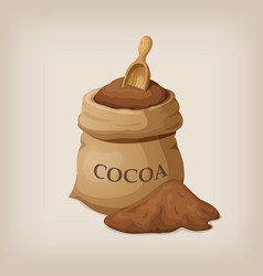 bag of freshly ground cocoa cocoa powder wooden vector image
