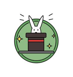 rabbit inside magician hat funny magic trick vector image