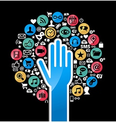 Social media networks hand concept tree vector image vector image