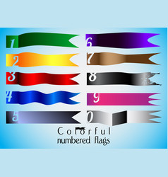 ten colorful numbered flag set vector image vector image