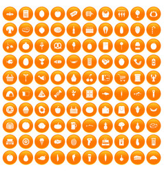 100 grocery shopping icons set orange vector