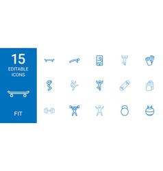 15 fit icons vector