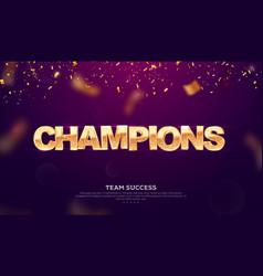 3d golden glitter word champions vector