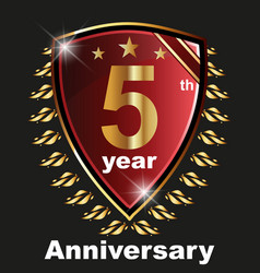 anniversary 5 th label with ribbon vector image