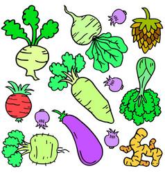 Art fresh vegetable set vector