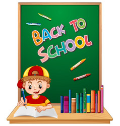 back to school template with boy vector image