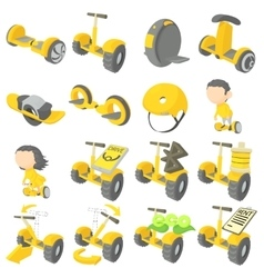 Balancing scooter icons set cartoon style vector