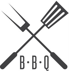 bbq tools simple icon design template vector image vector image