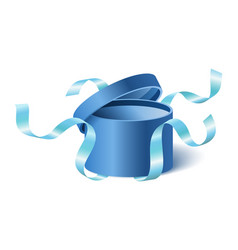 Blue opened 3d realistic round gift box vector