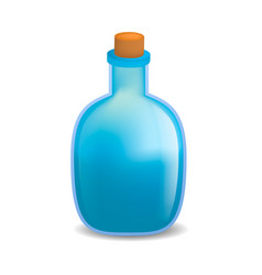 Blue poison bottle mockup realistic style vector