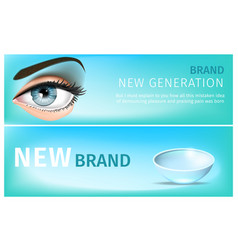 blue womans eye and transparent soft contact lens vector image