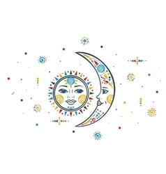 Bohemian sun moon vector
