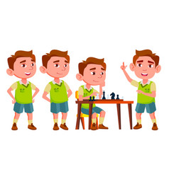 boy kindergarten kid poses set playful vector image
