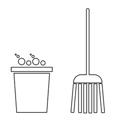Bucket and broom the black color icon vector