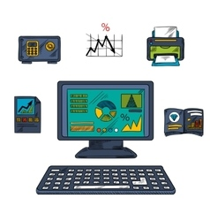 Business technology and office objects vector