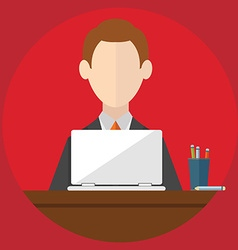 Businessman is working with laptop Flat modern of vector image
