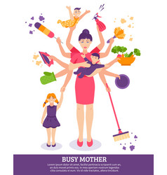 Busy mother concept vector