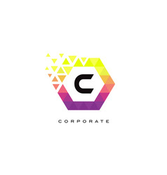 c colorful hexagon shaped letter logo design vector image